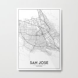 Minimal City Maps - Map Of San Jose, California, United States Metal Print