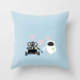pixar walle and eve love and romance... minimalistic Throw Pillow