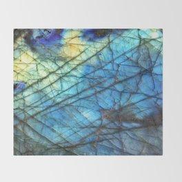 Royal Labradorite Crystal Agate Gemstone Print Throw Blanket