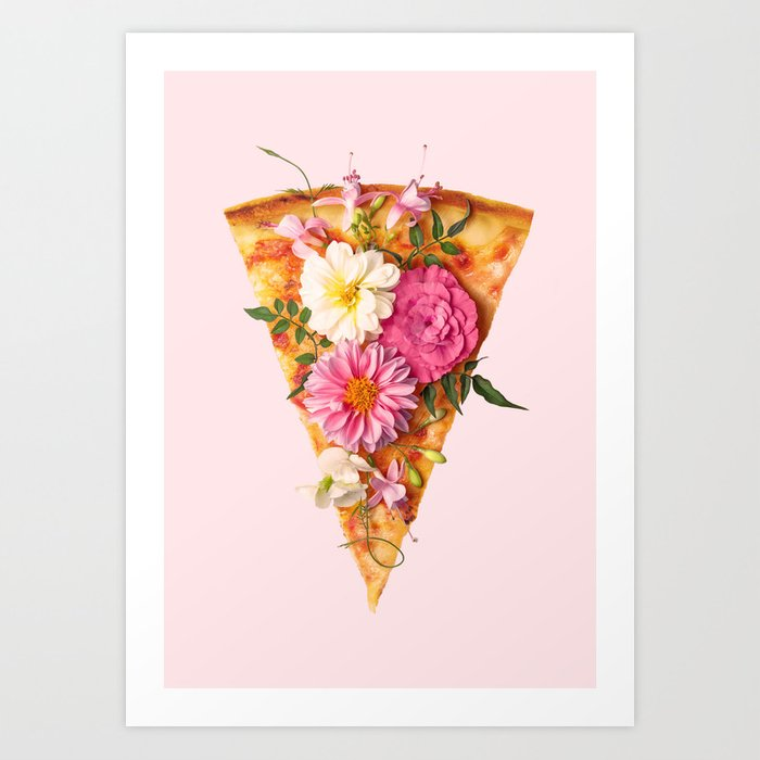 FLORAL PIZZA Art Print