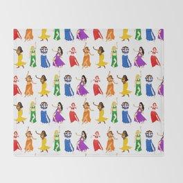 Belly Dancers - Rainbow Colors Throw Blanket