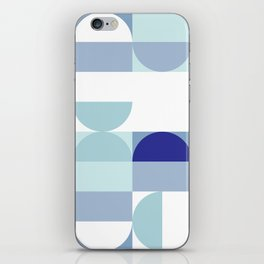 Minimal Bauhaus Semi Circle Geometric Pattern 3 - Blue #buyart #society6 #minimalart iPhone Skin