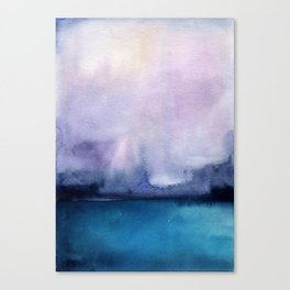 Watercolor blue sea on a background of thunderclouds Canvas Print