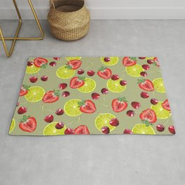 Lime Strawberry Cherry pattern - Fruits Design #fruits Rug