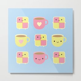 Kawaii Battenberg Cake & Cup of Tea Metal Print