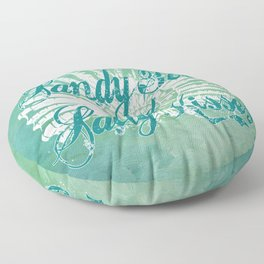 Sandy Toes and Salty Kisses with Nautilus Shell Graphic Design Floor Pillow