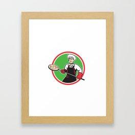 Pizza Maker Holding Peel Circle Retro Framed Art Print