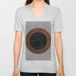 Concrete, Rusted Iron, and Black Marble Abstract Unisex V-Neck