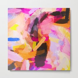 pink purple yellow brown painting texture abstract background Metal Print