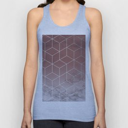 Geometric Cubes Deep Pink on Marble Unisex Tank Top