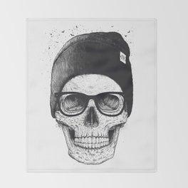 Black Skull in a hat Throw Blanket
