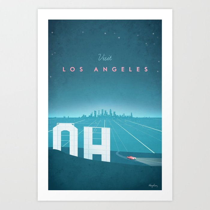 Vintage Los Angeles Travel Poster Art Print