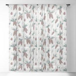Gouache Pine Cones Sheer Curtain