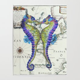 Blue Seahorse Kiss Poster