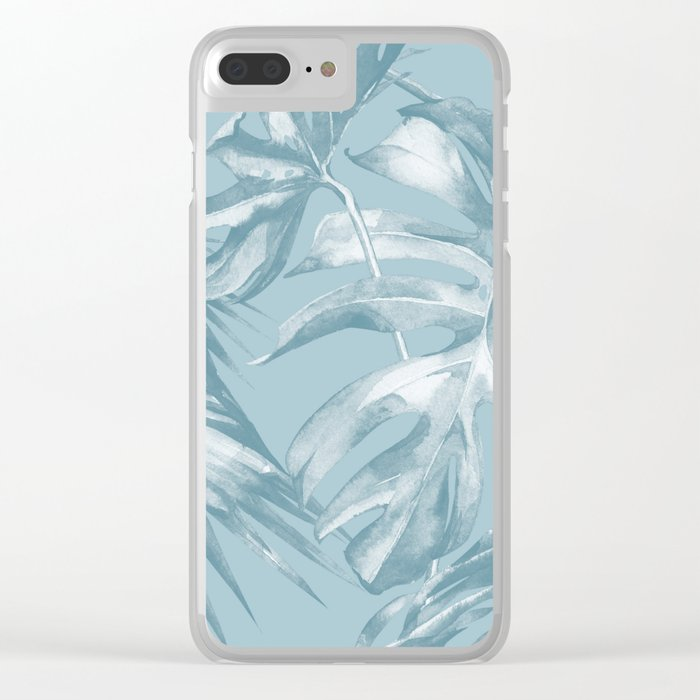 Island Dream Teal Palm Leaves Clear iPhone Case