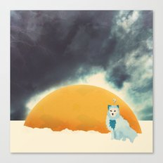Arctic Fox Stumbles Upon A Meteorite Canvas Print