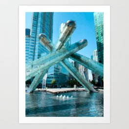 Digital Painting of Vancouver's Olympic Cauldron on a Clear, Sunny Day Art Print