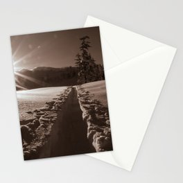 B&W Sunrise Backcountry Ski // Black and White Skin Track to Snowy Paradise Stationery Cards