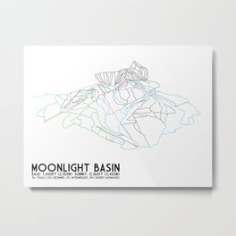 Moonlight Basin, MT (Now Big Sky North) - Minimalist Trail Art Metal Print