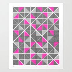 Pink & Grey Geometric Pattern Art Print