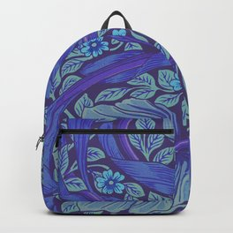 William Morris Indigo Forget Me Not Floral Art Nouveau Backpack