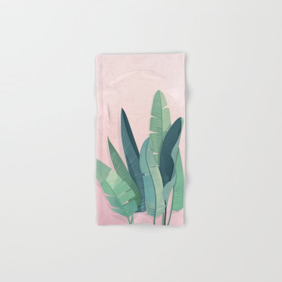 Tropical plants on pink background Hand & Bath Towel