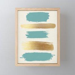 Brush Strokes (Teal/Gold) Framed Mini Art Print