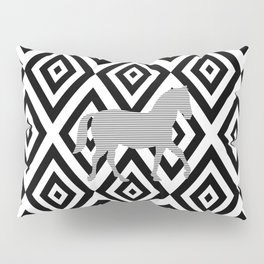 Horse - Abstract geometric pattern - gray, black and white. Pillow Sham