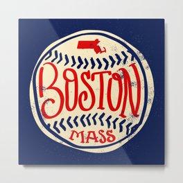 Hand Drawn Baseball for Boston with custom Lettering Metal Print