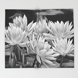 Water Lily in Black and White Throw Blanket