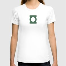 Green Lantern Vector Logo Womens Fitted Tee White SMALL
