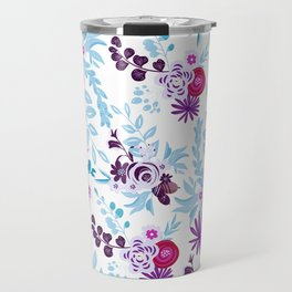 Abstract pastel blue pink country flowers pattern Travel Mug