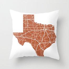 Texas Highway Map - Orange Throw Pillow