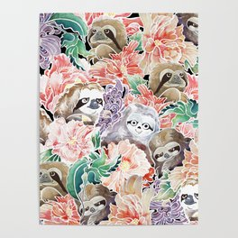 Because Sloths Watercolor Poster