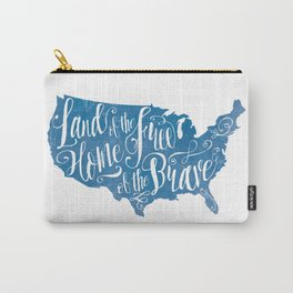 Land of the Free in Blue Carry-All Pouch