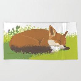 Snoozy Red Fox Beach Towel
