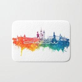 Cracow skyline city color Bath Mat
