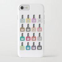 nail polish iPhone & iPod Cases featuring Nail Polish-holic by uzualsunday