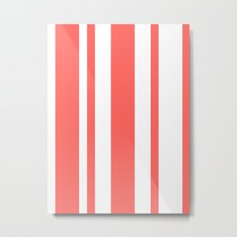 Mixed Vertical Stripes - White and Pastel Red Metal Print