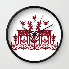Scandinavian Reindeer Papercut Wall Clock