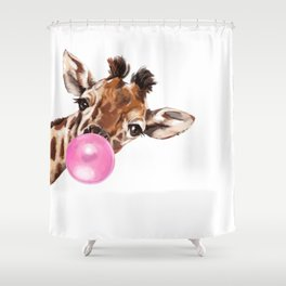 Bubble Gum Sneaky Giraffee Shower Curtain