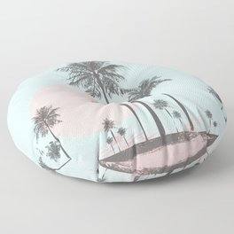 Beachfront palm tree soft pastel sunset graphic Floor Pillow