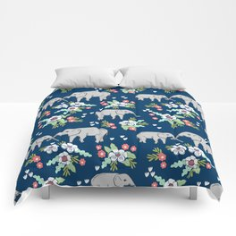 Elephants pattern navy blue with florals cute nursery baby animals lucky gifts Comforters