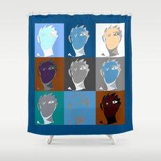 blind contour self portrait Shower Curtain