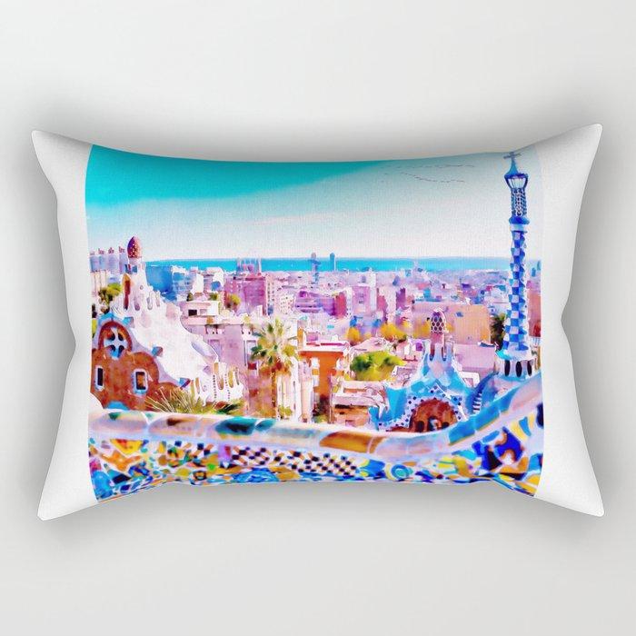 Park Guell Watercolor painting Rectangular Pillow