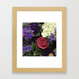 French Lavender and Red Rose Floral Bouquet Framed Art Print