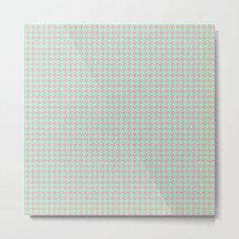 Light Green Pink Houndstooth Pattern Metal Print