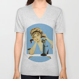 "C Coles Phillips 'Fadeaway Girl' ""Long Distance Call"" Unisex V-Neck"