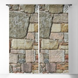 Stone Wall Fieldstones in Grey, Gold and Red Flagstone Blackout Curtain