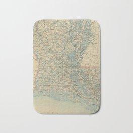 Vintage Map of Louisiana (1896) Bath Mat